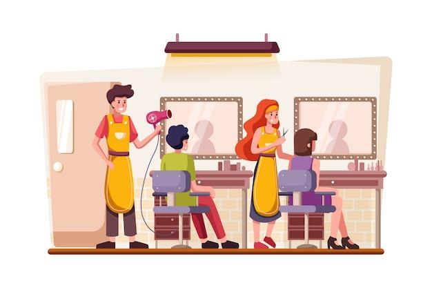 Bâtiment et intérieur du salon de coiffure avec le client