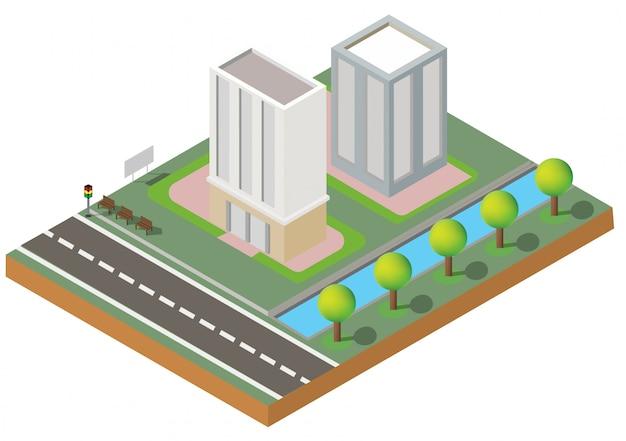 Bâtiment isométrique. deux bâtiments sur le chantier avec road.building 3d, smart city, office and town apartment.