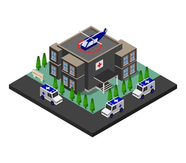 Bâtiment isométrique de l'hôpital
