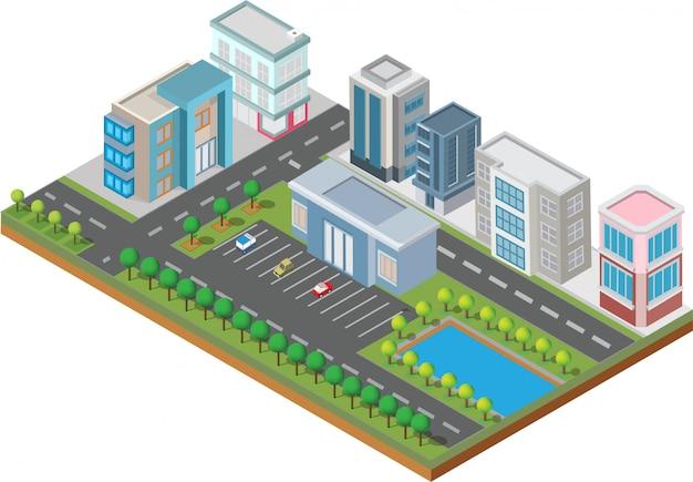 Bâtiment isométrique. ils sont sur la cour avec la route et les arbres.smart ville et parc public