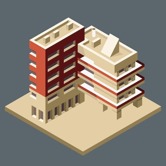 Bâtiment isométrique moderne, immeuble de bureaux