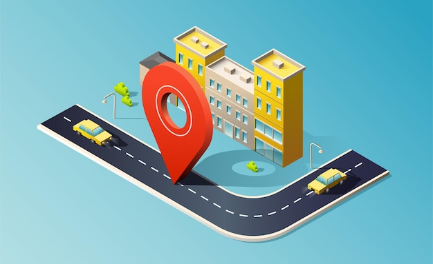 Bâtiment isométrique avec route, voitures jaunes et broche de localisation rouge.