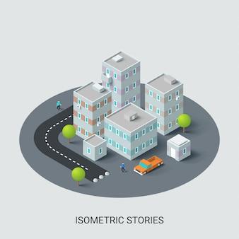 Bâtiment isométrique, ville.