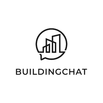Bâtiment Avec Logo De Discours De Bulle Modèle Vectoriel De Création De Chat Créatif Vecteur Premium