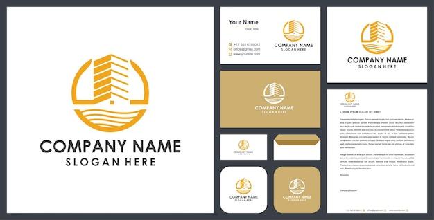Bâtiment logo premium et carte de visite