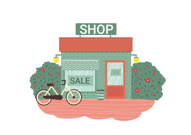 Bâtiment de magasin avec buissons de vélo