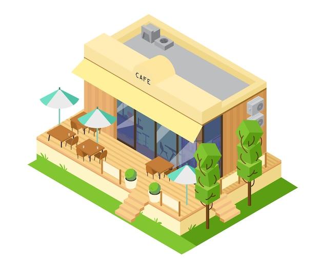 Bâtiment de magasin de café isométrique de vecteur avec terrasse d'été avec tables et parasols.