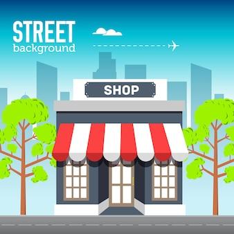 Bâtiment de magasin dans l'espace de la ville avec route sur le concept de fond plat syle