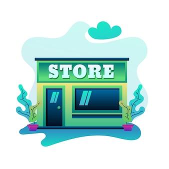 Bâtiment magasin illustration design plat moderne