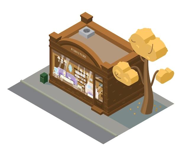 Bâtiment de magasin de meubles isométrique de vecteur. vitrine avec meubles.