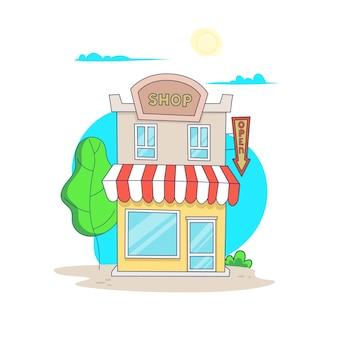 Bâtiment de magasin séparé de dessin animé isolé sur blanc