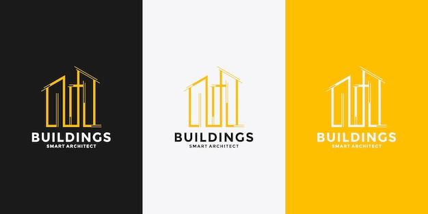 Bâtiment avec modèle de conception de logo lettre m pour votre entreprise
