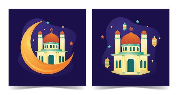Bâtiment de la mosquée de la mosquée ramadan kareem avec style plat