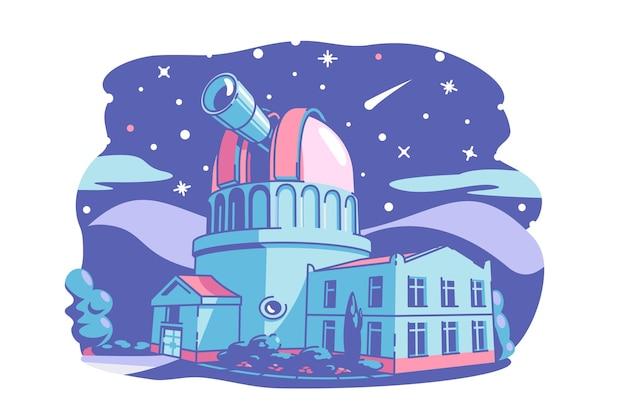 Bâtiment de l'observatoire avec illustration vectorielle télescope étoiles planètes comète astéroïde sur ciel nocturne style plat science et astronomie concept isolé