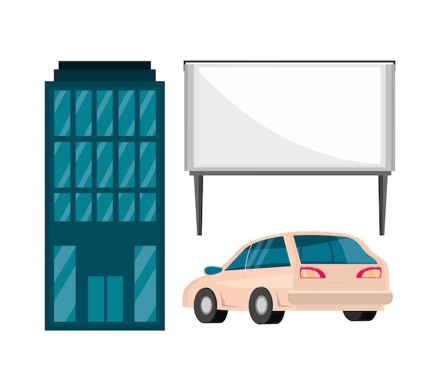 Bâtiment, panneau d'affichage et voiture