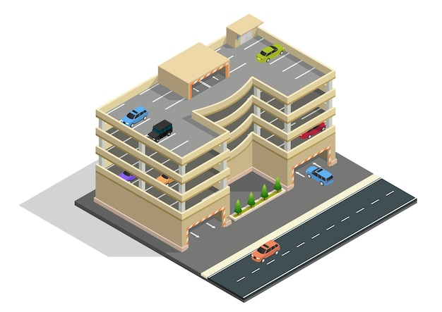 Bâtiment de parking isométrique à plusieurs niveaux avec voiture à l'intérieur.