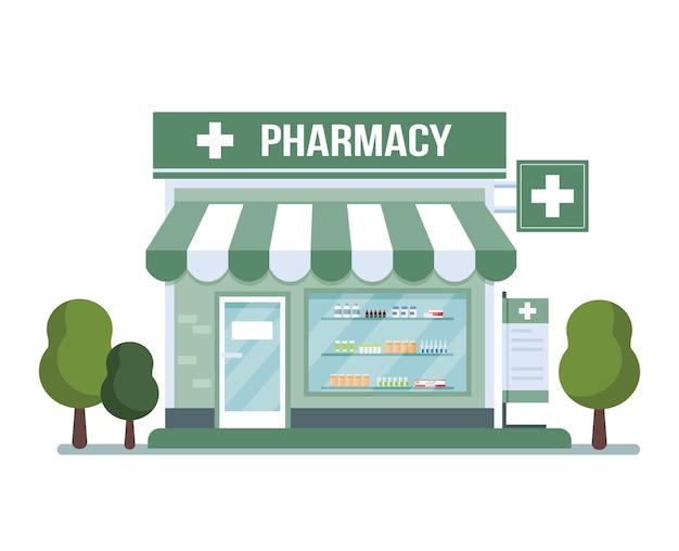 Bâtiment de la pharmacie isolé sur blanc