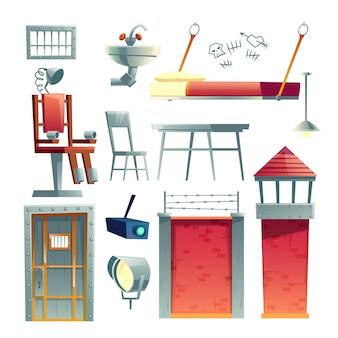 Bâtiment de prison, cellule de prison, intérieur de section de condamné à mort, dessin animé élément de conception