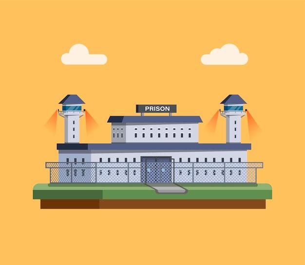 Bâtiment de la prison avec concept de tour de patrouille à plat