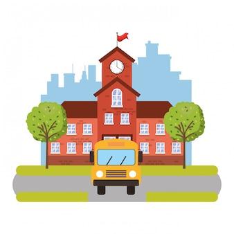 Bâtiment scolaire avec autobus scolaire