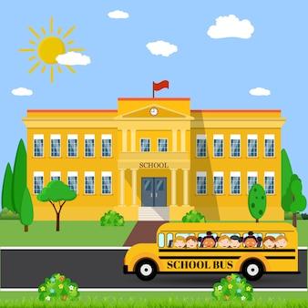 Bâtiment scolaire et bus