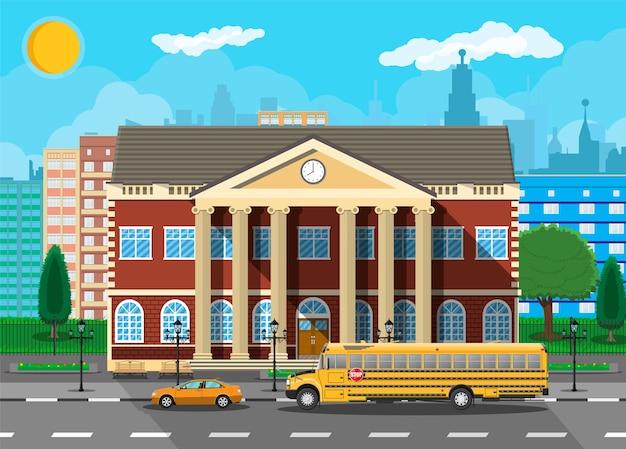 Bâtiment scolaire classique et paysage urbain.