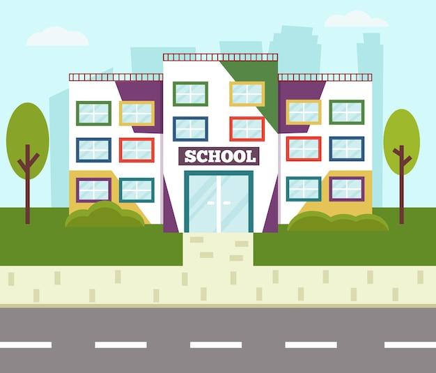 Bâtiment scolaire coloré. style de bande dessinée illustration vectorielle plane