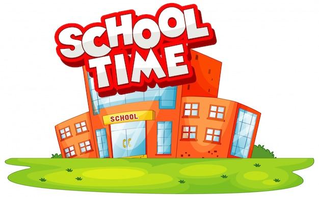 Bâtiment scolaire dans la scène avec le temps de l'école de mot