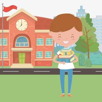 Bâtiment scolaire et dessin animé garçon