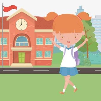 Bâtiment scolaire et dessin de fille