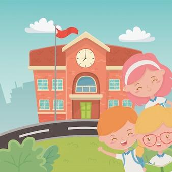 Bâtiment scolaire avec des enfants dans la scène
