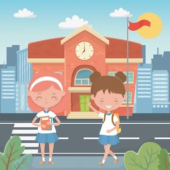 Bâtiment scolaire et enfants