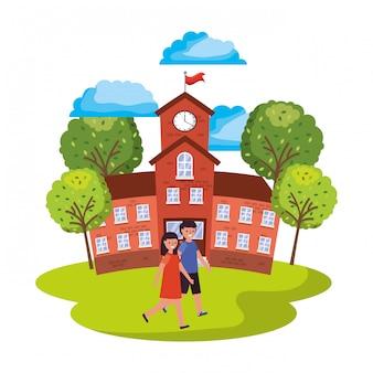 Bâtiment scolaire avec des étudiants