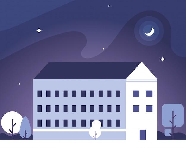 Bâtiment scolaire avec paysage nocturne