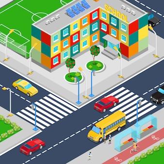 Bâtiment scolaire de la ville isométrique avec bus scolaire de terrain de jeu de football et chercheurs.