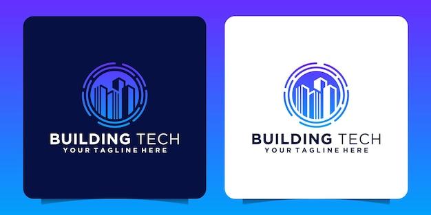 Bâtiment de silhouette de logo créatif avec cercle de technologie