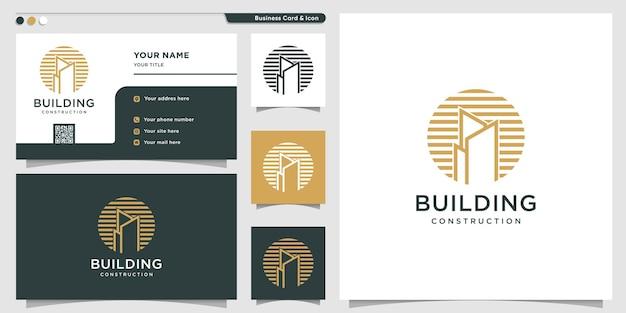 Bâtiment de style de cercle moderne de logo vecteur premium