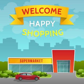 Bâtiment de supermarché et une voiture sur fond de paysage urbain. vue de face. style plat.