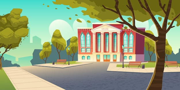 Bâtiment universitaire, bannière de l'établissement d'enseignement