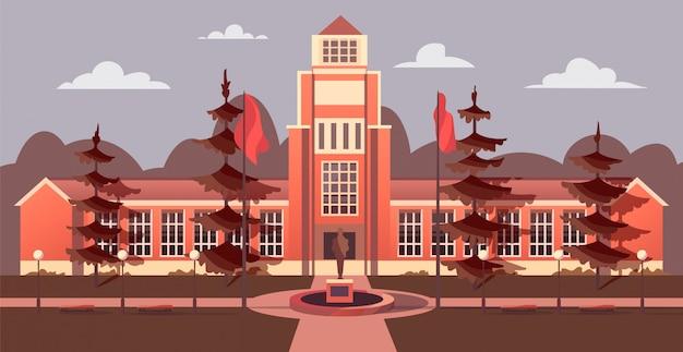 Le bâtiment de l'université dans le style cartoon