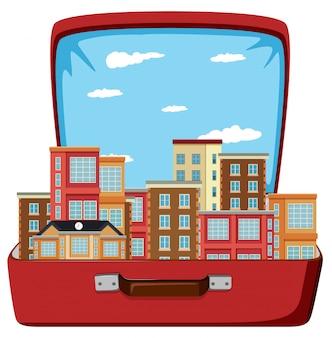Bâtiment urbain dans la valise