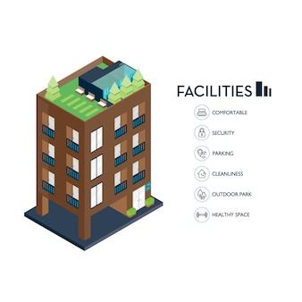 Bâtiment urbain isométrique. installations d'icônes pour condominium.