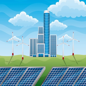 Bâtiment d'usine eco vert