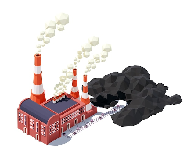 Bâtiment d'usine industrielle avec tuyaux, chariot à charbon et chemin de fer.