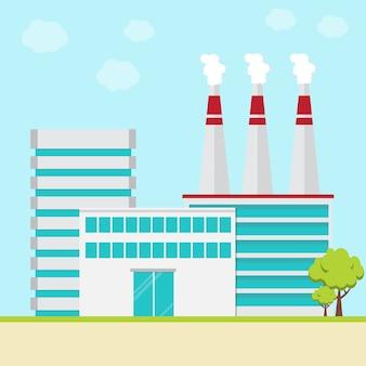 Bâtiment d'usine industrielle.