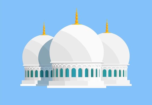 Bâtiment de vecteur de mosquée blanche en marbre blanc