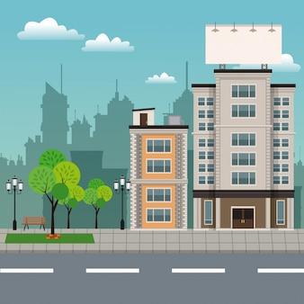 Bâtiments, arbre, brench, parc, urbain, streetscape