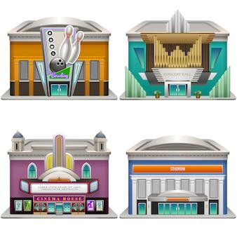 Bâtiments. bowling, salle de concert, cinéma, stade. illustration. .
