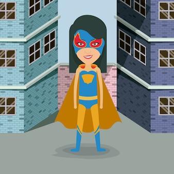 Bâtiments brique façade avec héros femme