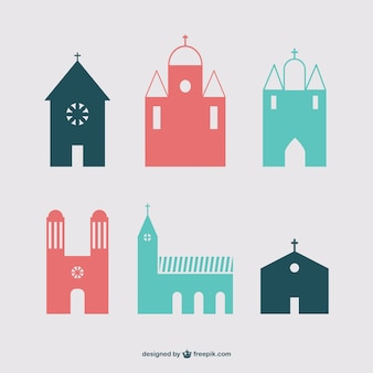 Bâtiments chrétiens icône ensemble